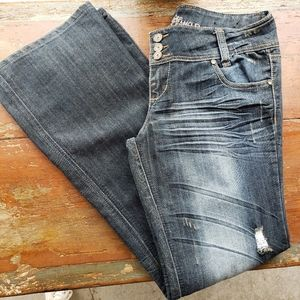 Almost Famous midrise bootcut distressed jeans 13